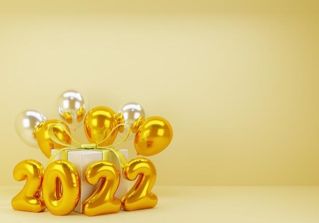 Nouvel an 3d avec ballon cadeau présent sur fond d'or