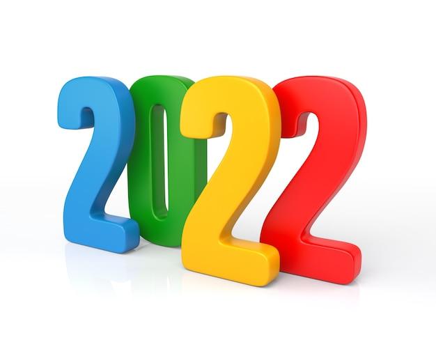 Nouvel an consept, multicolore 2022. rendu 3d