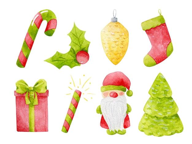 Nouvel an, ensemble d'images clipart de noël. illustrations de vacances d'hiver à l'aquarelle isolées sur blanc. cadeau mignon, rouge, vert, jaune, houx, bonbons, pétard, père noël, bas, cône, éléments de conception d'arbre.