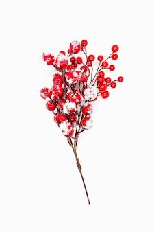 Nouvel an festif ou fond de noël avec des baies de houx rouges.