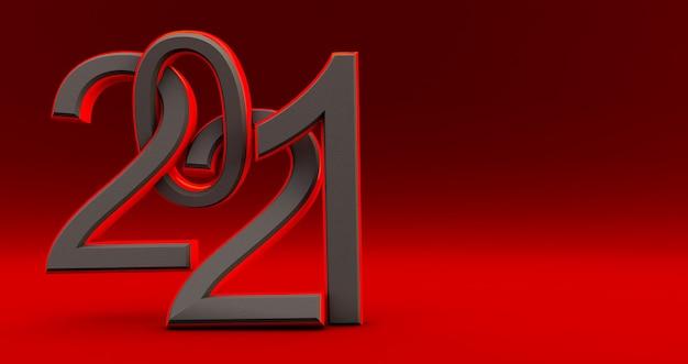 Nouvel an noir et rouge 2021 isolé sur rouge