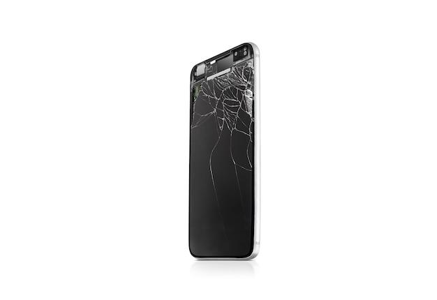Nouvel écran de téléphone portable cassé maquette, vue latérale, isolé
