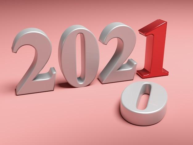 La nouvelle année 2021 remplace l'ancienne 2020