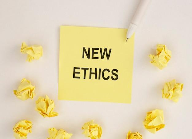 Nouvelle inscription éthique sur papier nouvelle normalité
