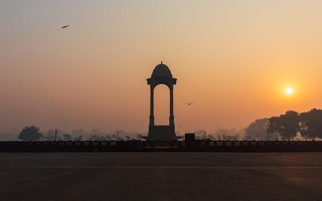Nouvelle verrière dehli près de la porte de l'inde, vue du coucher du soleil.