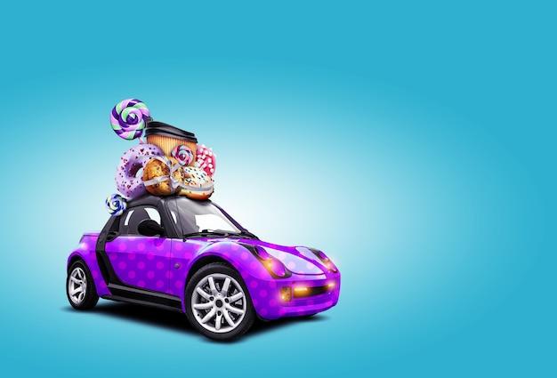 Une nouvelle voiture violette avec des beignets, des cannes de bonbon, une tasse en papier avec du café attachée avec un ruban sont sur le toit de la voiture