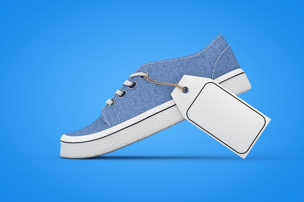 Nouvelles baskets en denim bleu sans marque avec étiquette de prix maquette vierge blanche sur fond bleu. rendu 3d