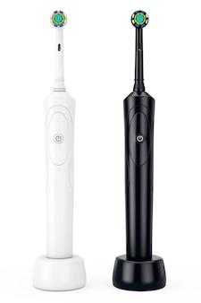 Nouvelles brosses à dents électriques blanches et noires sur un support de charge sur fond blanc. rendu 3d