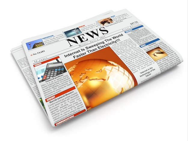 Nouvelles. journal plié sur fond isolé blanc