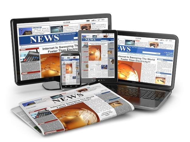 Nouvelles. notion de médias. ordinateur portable, tablette, téléphone et journal. 3d