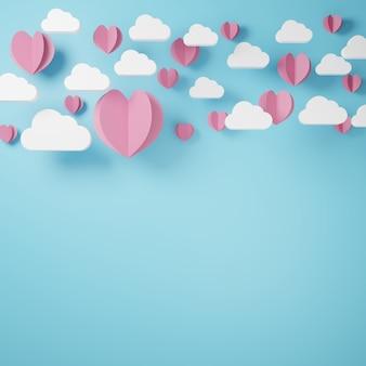 Nuage blanc et coeur découpé en papier rose flottent sur bleu