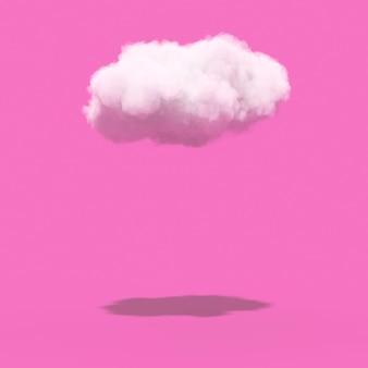 Nuage blanc avec ombre sur fond rose. rendu 3d