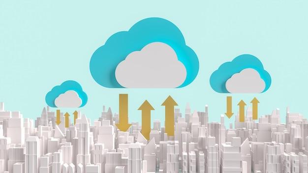 Le nuage et la construction de la ville pour le rendu 3d de contenu de technologie de communication.