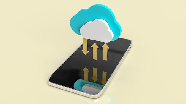 Le nuage et les flèches d'or sur mobile pour le rendu 3d de contenu de technologie de communication.