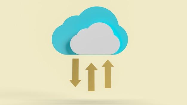 Le nuage et les flèches d'or pour le rendu 3d de contenu de technologie de communication.