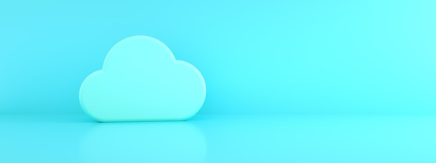 Nuage sur fond bleu, informations de stockage en nuage, rendu 3d, image panoramique