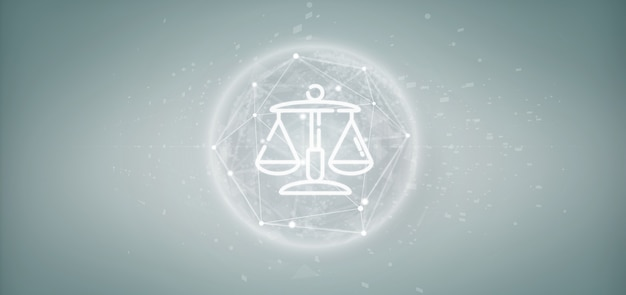 Nuage d'icône de justice et de droit avec rendu 3d de données