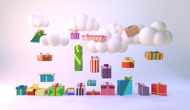 Nuage minimal flottant au-dessus de plusieurs coffrets cadeaux. idée minimale. rendu 3d.