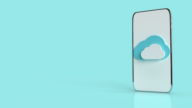 Un nuage mobile sur fond bleu pour le rendu 3d de contenu
