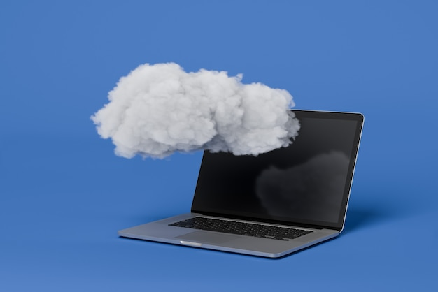 Un nuage sur un ordinateur portable. service cloud, stockage de sécurité ,. sauvegarde. sécuriser les données. réseau de communication sans fil