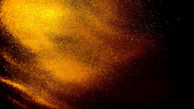Nuage de peinture dorée avec des paillettes dans l'eau isolé sur fond noir