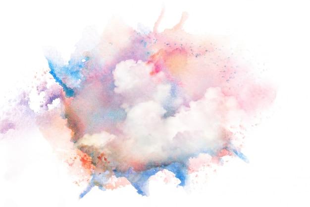 Nuages aquarelles colorés