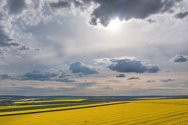 Nuages au-dessus du champ de colza agricole shot aérienne