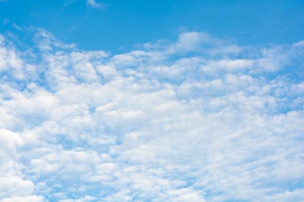 Nuages de cirrus sur fond de ciel bleu.
