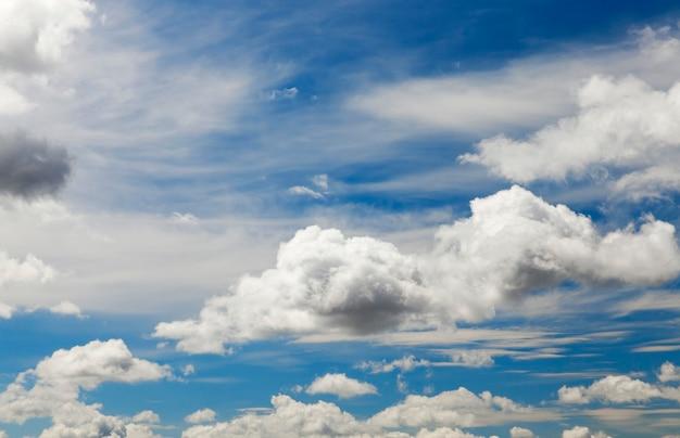 Nuages cumulus lumineux sur ciel bleu, gros plan