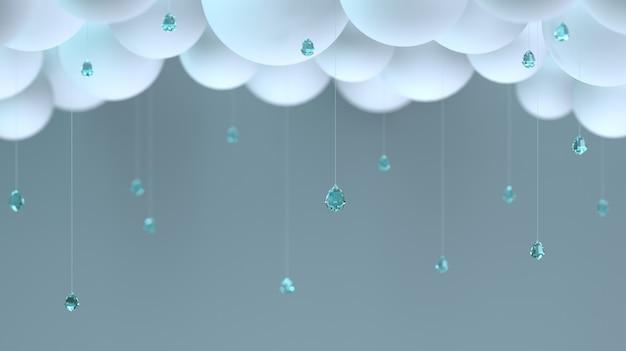 Nuages décoratifs et gouttes de pluie dans la chambre.