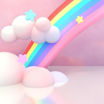 Nuages et étoiles arc-en-ciel de dessin animé en rendu 3d
