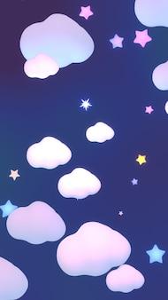 Nuages et étoiles de dessin animé en rendu 3d dans le ciel nocturne vertical