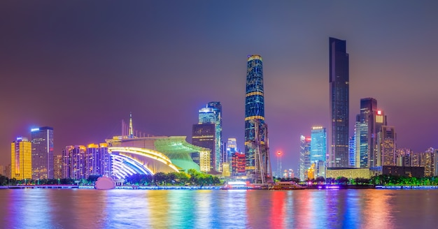 Nuit d'affaires, chine, moderne, repère
