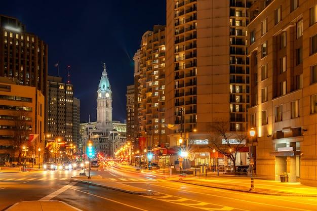 Nuit à l'hôtel de ville de philadelphie