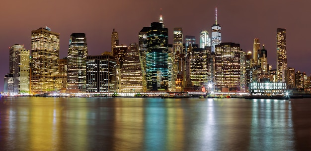 Nuit, nuit, skyline, bâtiments manhattan, new york