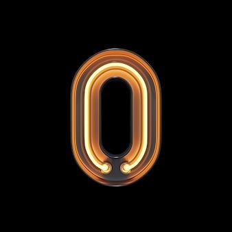 Numéro 0, alphabet fabriqué à partir de néon