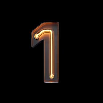 Numéro 1, alphabet fabriqué à partir de néon