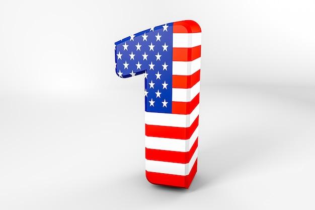 Numéro 1 avec le drapeau américain. rendu 3d - illustration