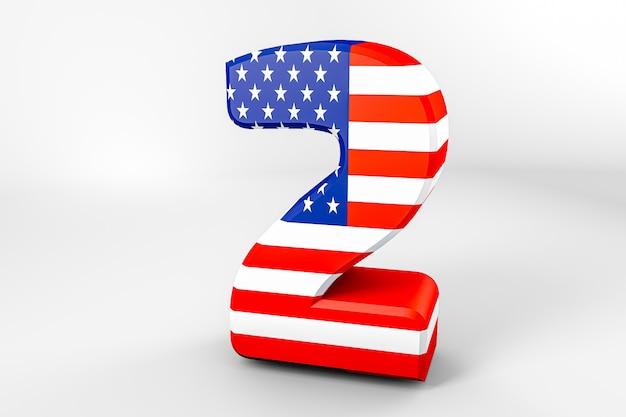 Numéro 2 avec le drapeau américain. rendu 3d - illustration