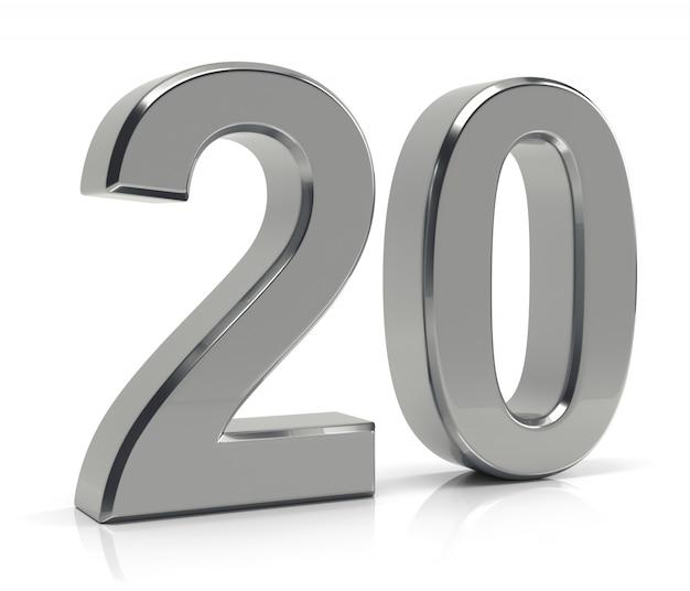 Numéro 20 isolé sur fond blanc