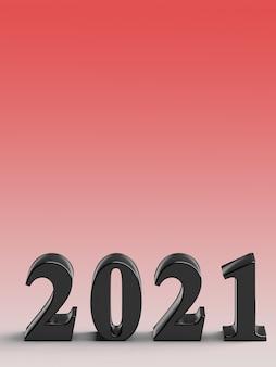 Numéro 2021 du nouvel an sur fond rouge
