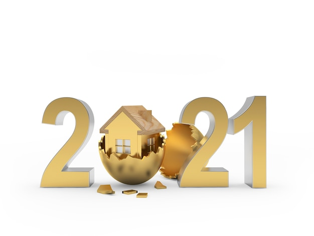 Numéro 2021 avec l'icône de la maison dans un œuf cassé.