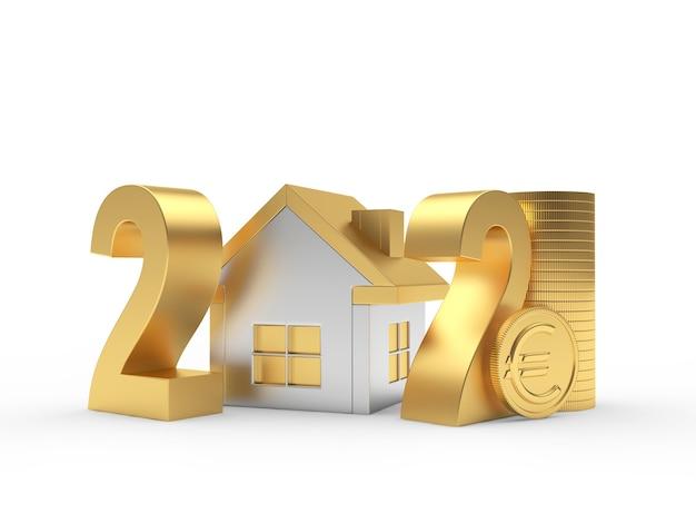 Numéro 2021 avec icône de la maison et pièce en euro