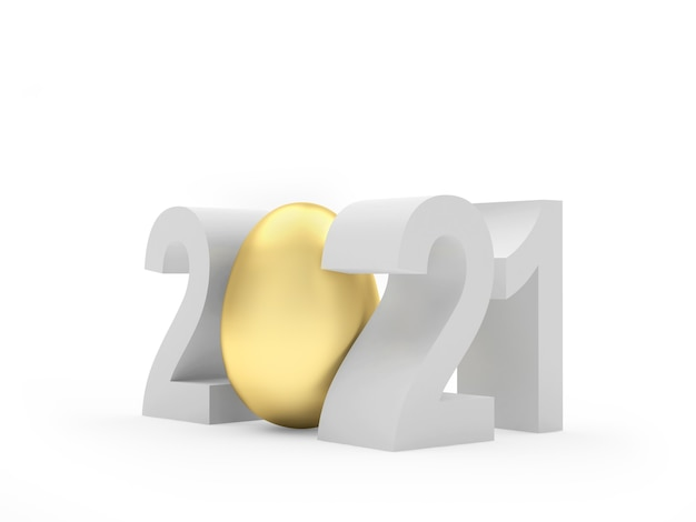 Numéro 2021 avec oeuf d'or