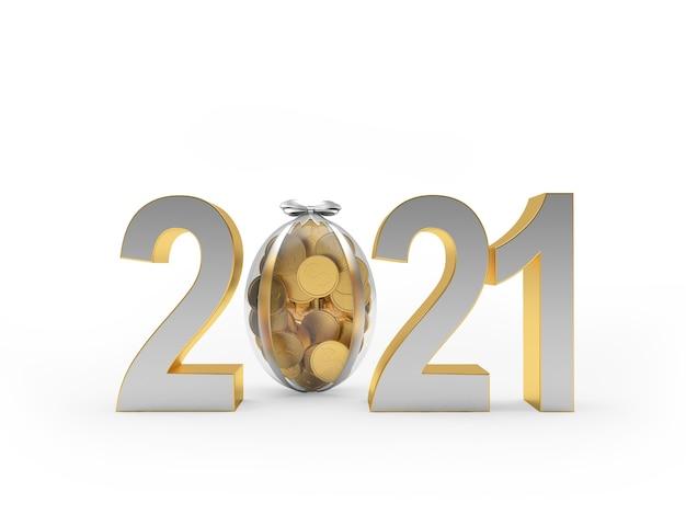 Numéro 2021 avec un œuf rempli de pièces de monnaie.