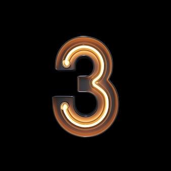 Numéro 3, alphabet fabriqué à partir de néon