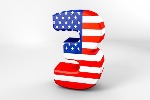 Numéro 3 avec le drapeau américain. rendu 3d - illustration