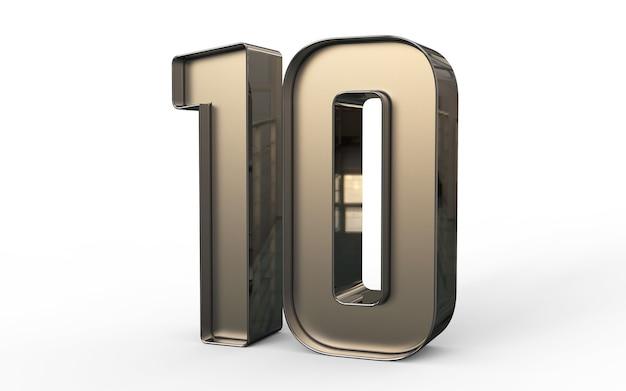 Numéro 3d 10 pour cent d'or