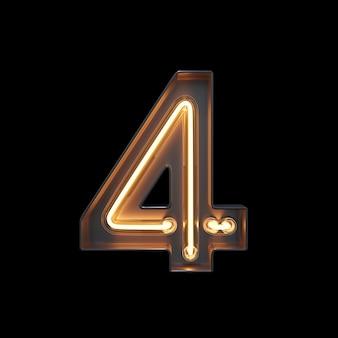 Numéro 4, alphabet fabriqué à partir de néon