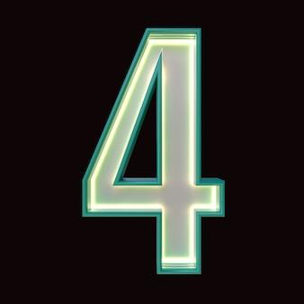 Numéro 4, alphabet. numéro 3d rétro isolé sur fond noir avec un tracé de détourage. illustration 3d.